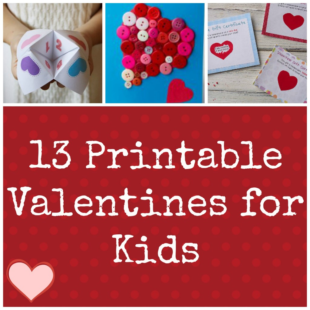 Valentine ideas for kids 13 printable valentines for Designs for valentine cards
