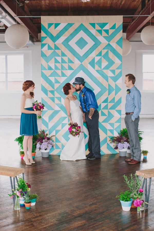 teal peach geometric wedding 19 Wedding Trends: Opposites Attract