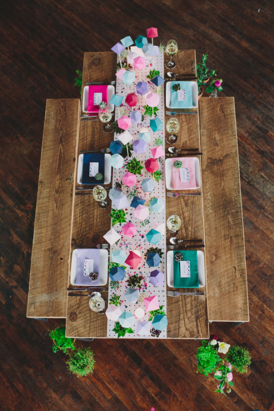 teal peach geometric wedding 61 Wedding Trends: Opposites Attract