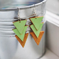 Triple Triangle Leather Earrings