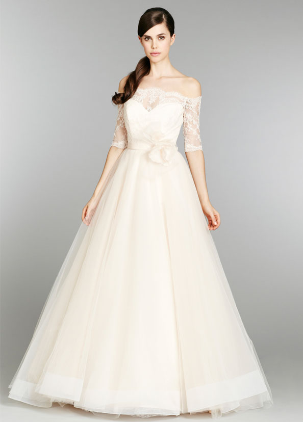 tara keely bridal ball gown sweetheart lace off shoulder three quarter sleeves natural waist chapel train 2358 x2 Wedding Trends 2014: The Wedding Dresses Youll Kill For