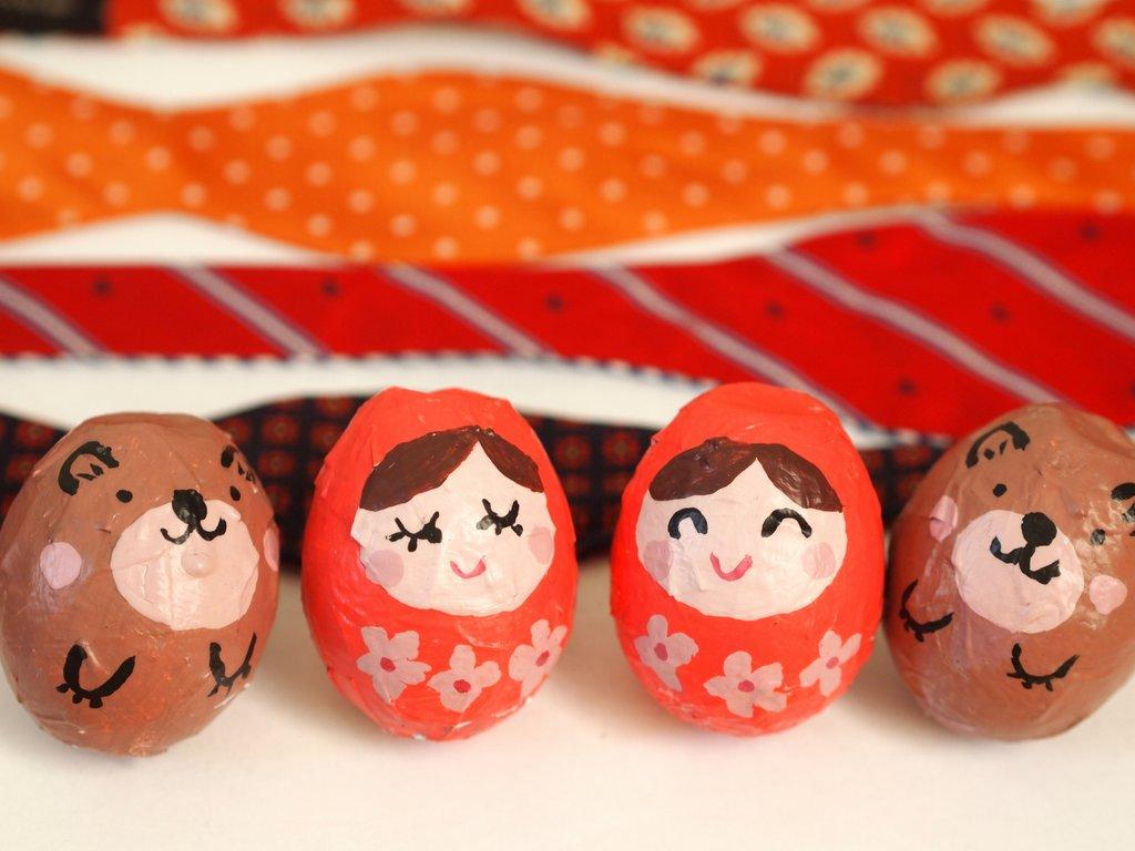 Elegant Eggshell Matryoshka Dolls
