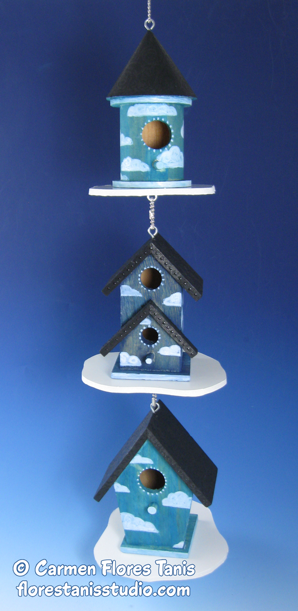 Beautiful Blue Birdhouse Display