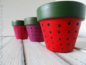 Sweet Strawberry Terra Cotta Pots