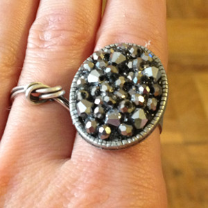 Faux Druzy Bead Ring