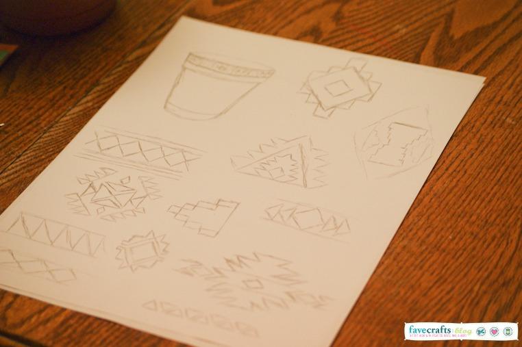 aztec print sketches scotchblue DIY Aztec Planter + Home Depot Giveaway