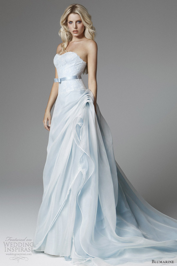 blumarine 2013 bridal light blue wedding dress strapless flange skirt Fresh Solutions for an Old Rhyme: Something Blue Ideas