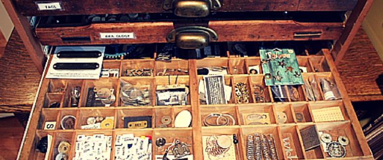Creative Craft Supply Storage with Printers' Trays