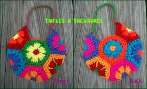 Flower Child Crochet Bag, free pattern by Tera Kulling/Trifles N Treasures.