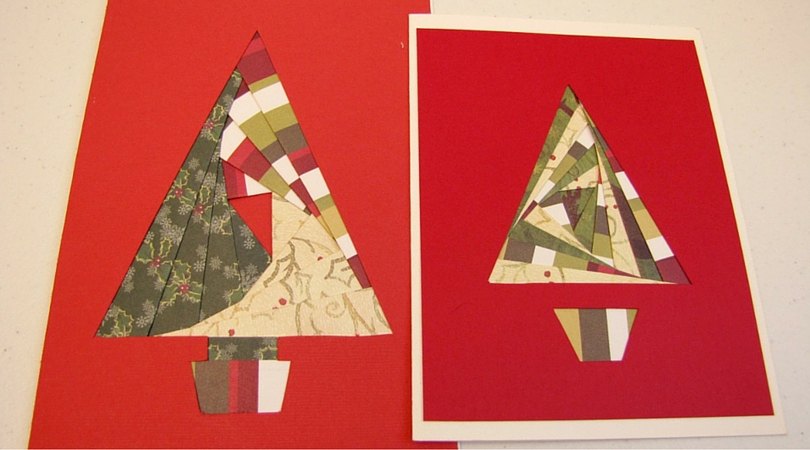 iris paper folded christmas tree handmade card