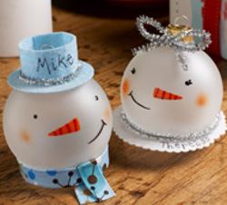 Snowman Glass Ornaments