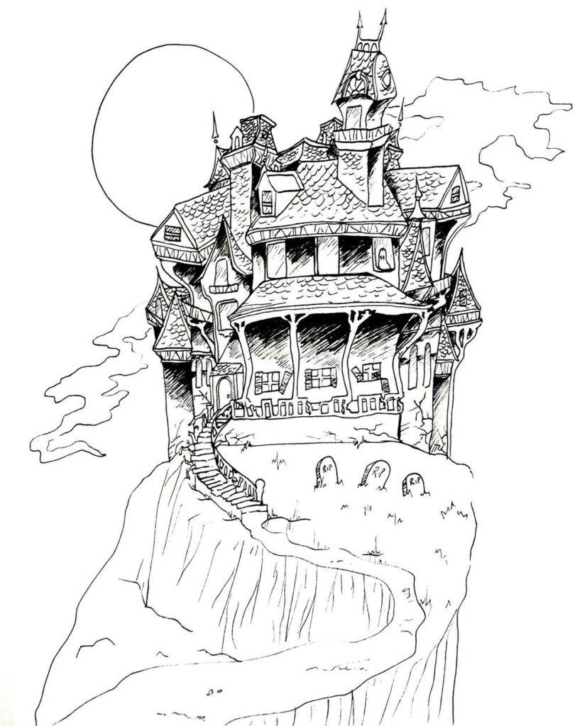 Spooky Scary Haunted House Coloring Page Favecrafts