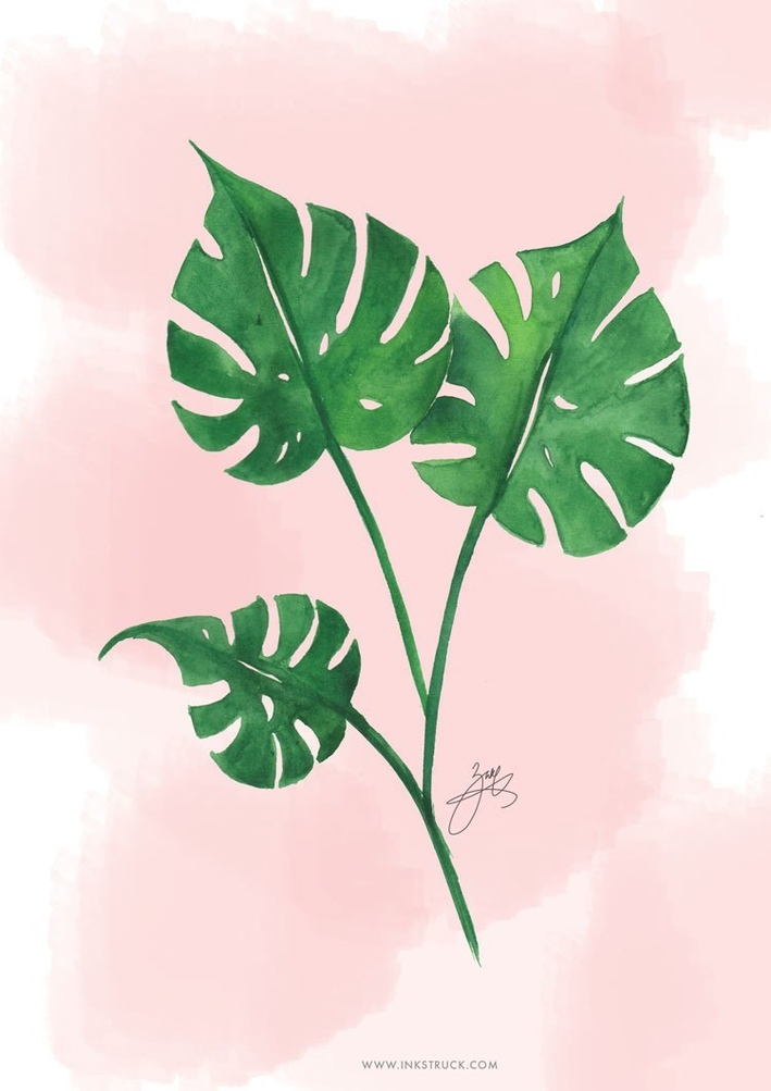 Tropical Leaf Watercolor Printable