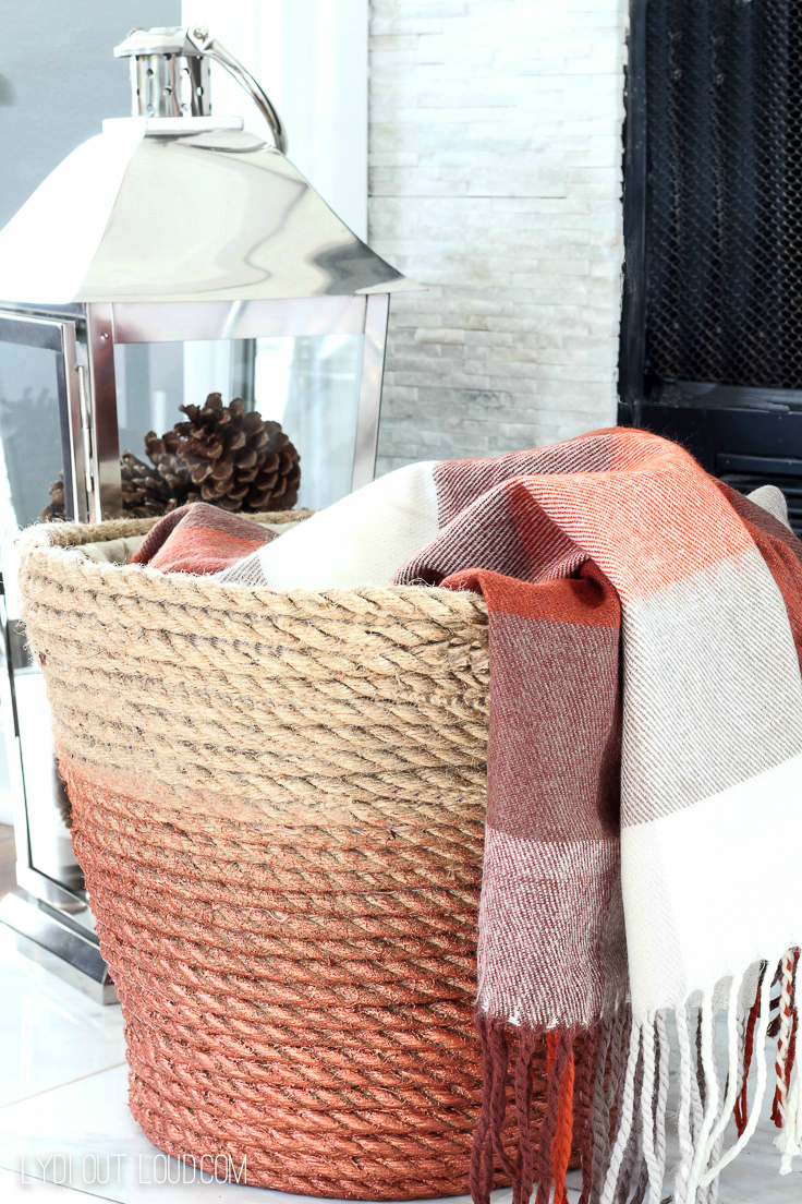 DIY Storage Solutions: Metallic Rope Throw Basket