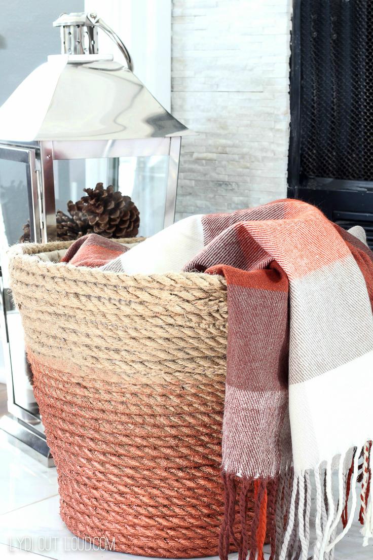 DIY Storage Solutions: Metallic Rope Throw Basket